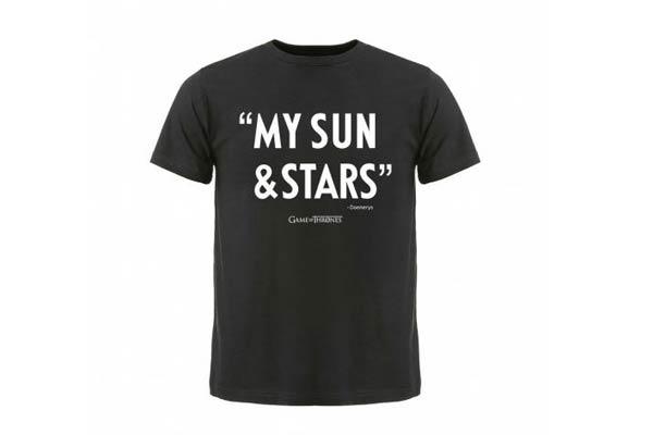 tshirt game of thrones sun and stars - 20 idées cadeaux pour le sériephile amoureux à l'occasion de la Saint Valentin